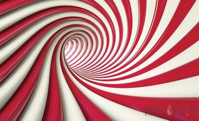 Fototapeta Biało-czerwony tunel 3D 2148