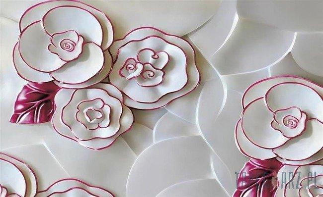 Fototapeta Biało-różowe kwiaty z porcelany 3695