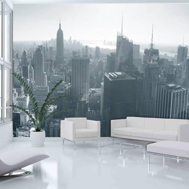 Fototapeta - Czarno-biała panorama Nowego Jorku