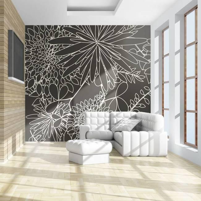 Fototapeta - Czarno biały motyw kwiatowy