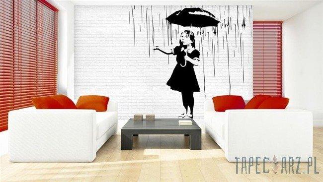 Fototapeta Dziewczynka z parasolem w deszczu - Banksy 2896