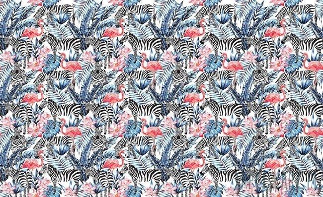 Fototapeta Flamingi i zebry na liściach 11084