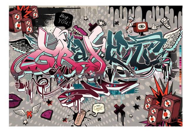 Fototapeta - Graffiti: hej Ty!