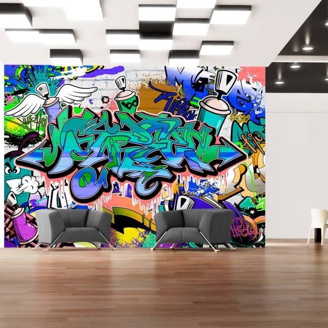 Fototapeta - Grafiti: niebieski motyw