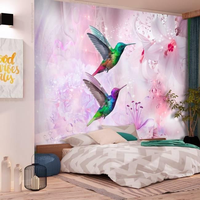 Fototapeta - Kolorowe kolibry (fioletowy)