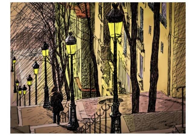 Fototapeta - Lonely walk through Montmartre