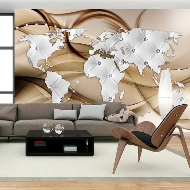 Fototapeta - Mapa świata - Biały & Diamenty