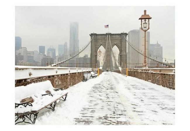 Fototapeta - Nowojorski most pokryty śniegiem