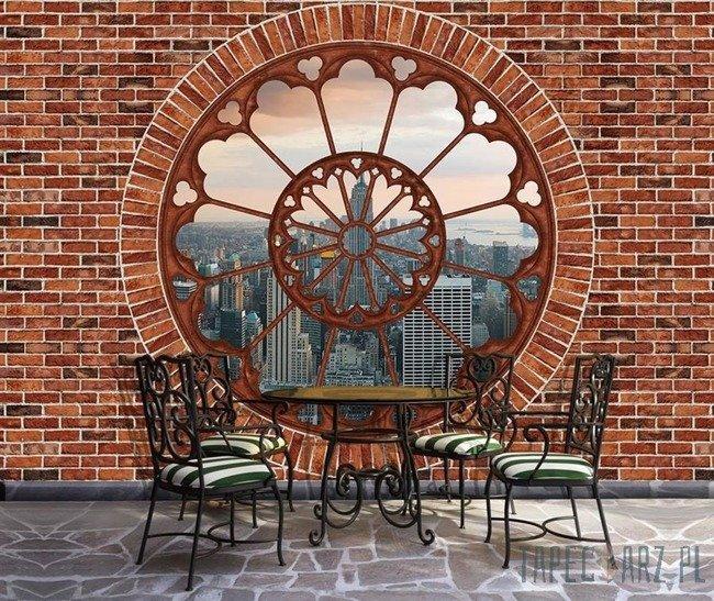 Fototapeta Nowy Jork - czerwona cegła okno 2179