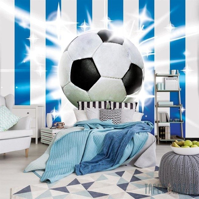 Fototapeta Piłka nożna na biało-niebieskich pasach 476