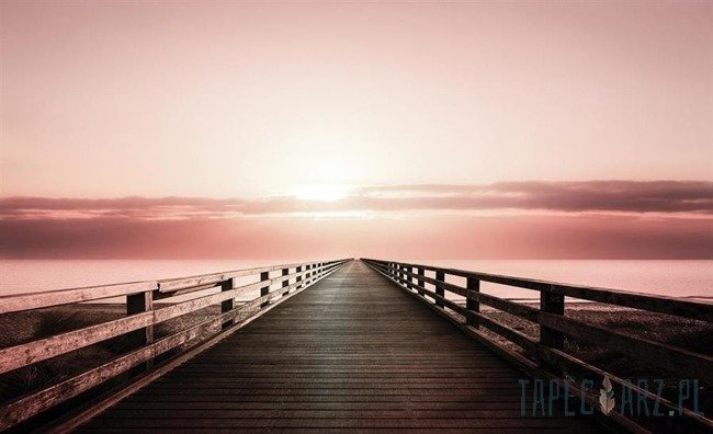 Fototapeta Różowy zachód słońca - pomost 3464