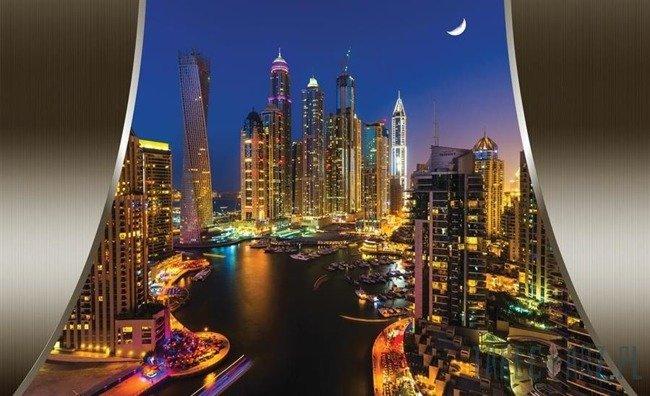 Fototapeta Wieżowce Dubaju nocą 2199