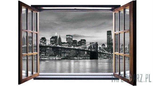 Fototapeta na flizelinie Brooklyn Bridge - Czarno-biały widok przez otwarte okno 823