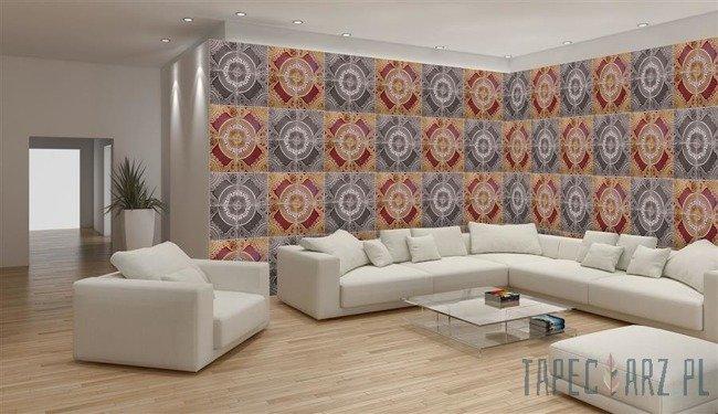 Fototapeta na flizelinie Mozaika w odcieniu szarości i pomarańczowego 10101VEE