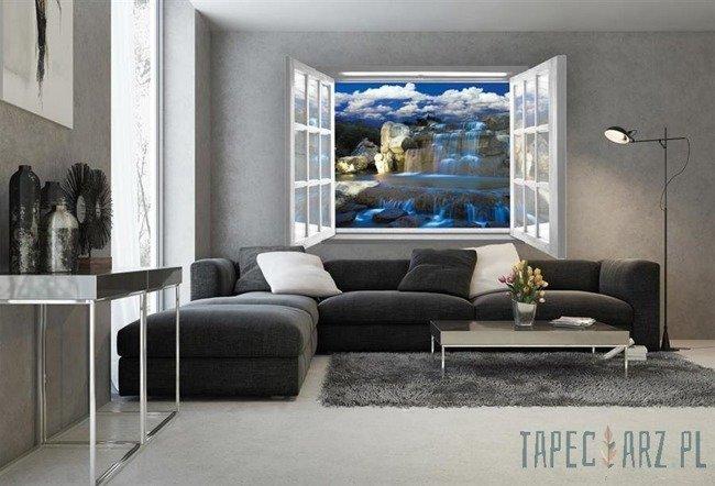 Fototapeta na flizelinie Niebieski wodospad przez otwarte białe okno 2063