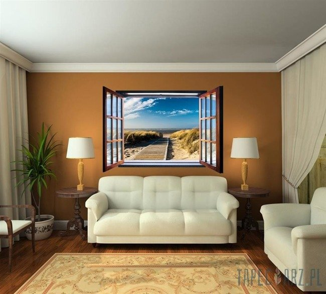 Fototapeta na flizelinie Plaża przez otwarte okno 1054