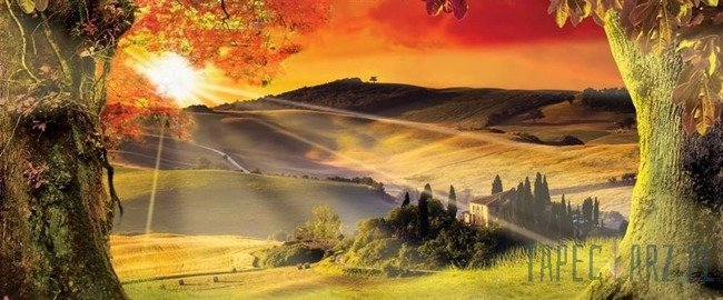 Fototapeta na flizelinie Toskania - zachód słońca 2599VEP