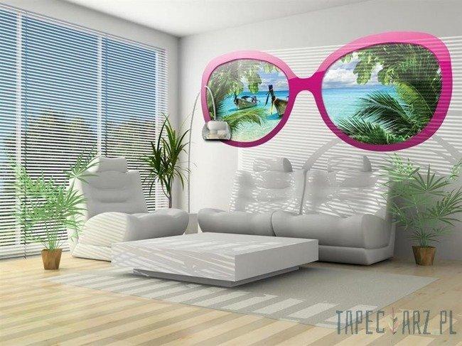 Fototapeta na flizelinie Tropikalna plaża przez różowe okulary 724
