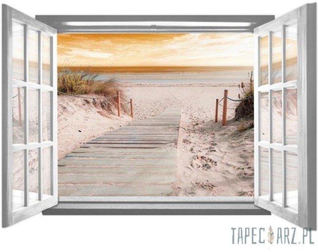 Fototapeta na flizelinie Zejście na plażę przez otwarte białe okno 2080