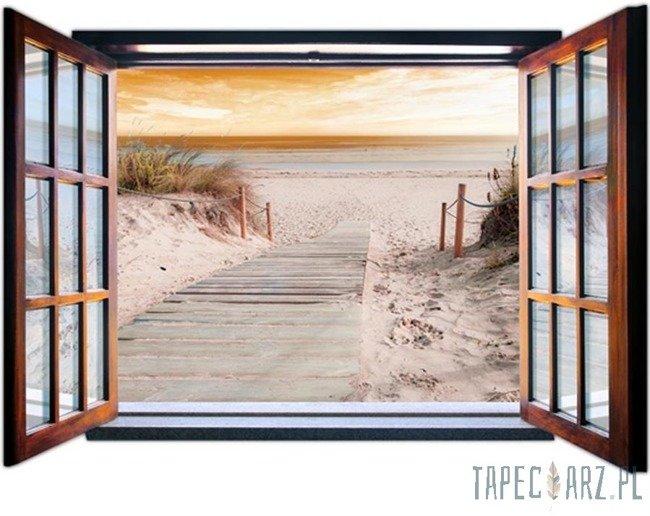 Fototapeta na flizelinie Zejście na plażę przez otwarte okno 2081