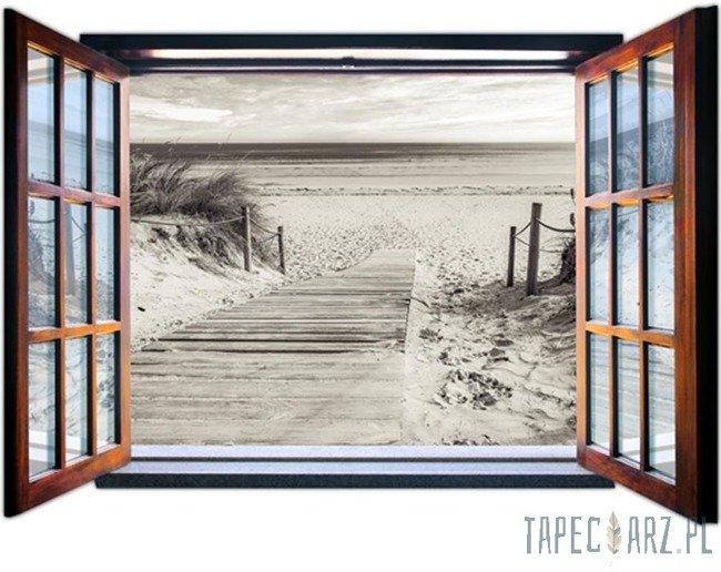 Fototapeta na flizelinie Zejście na plażę przez otwarte okno 2082