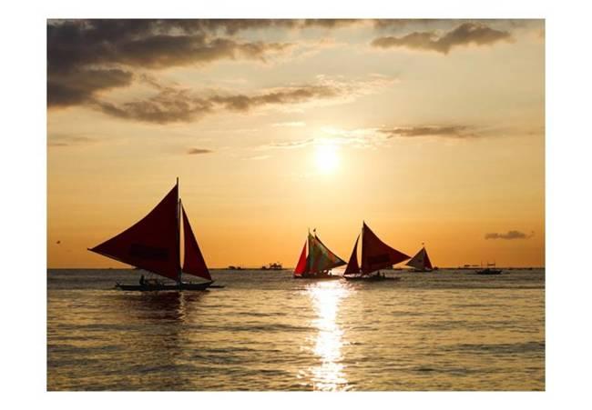 Fototapeta - żaglówki - zachód słońca