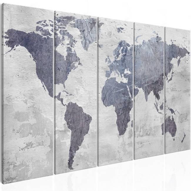 Obraz - Betonowa mapa świata (5-częściowy) wąski