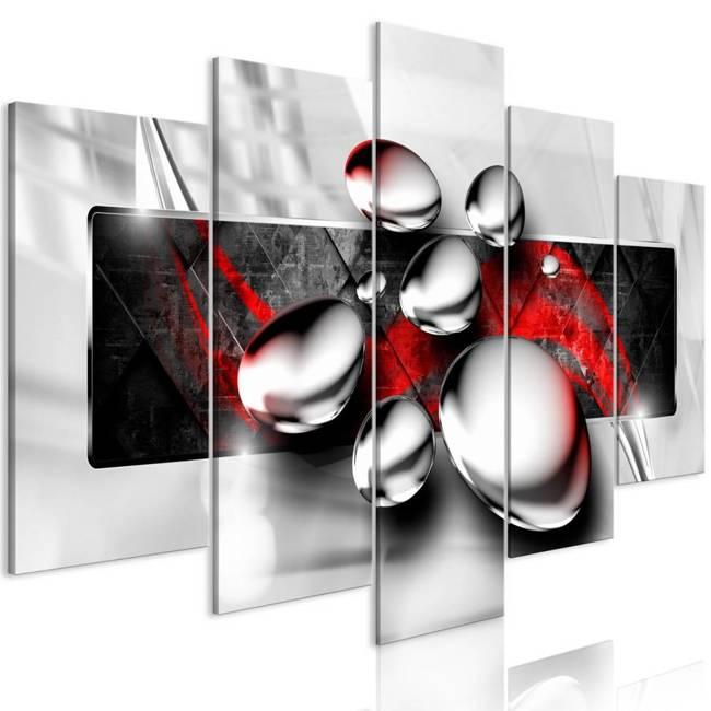Obraz - Błyszczące kamienie (5-częściowy) szeroki czerwony