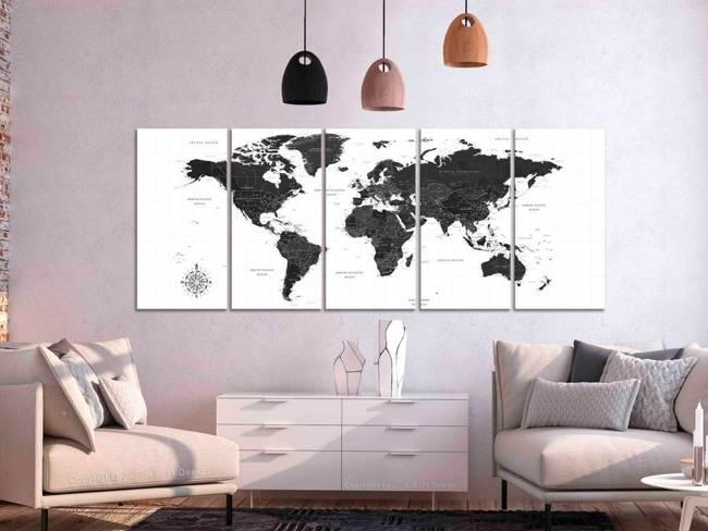 Obraz - Czarno-biała mapa (5-częściowy) wąski