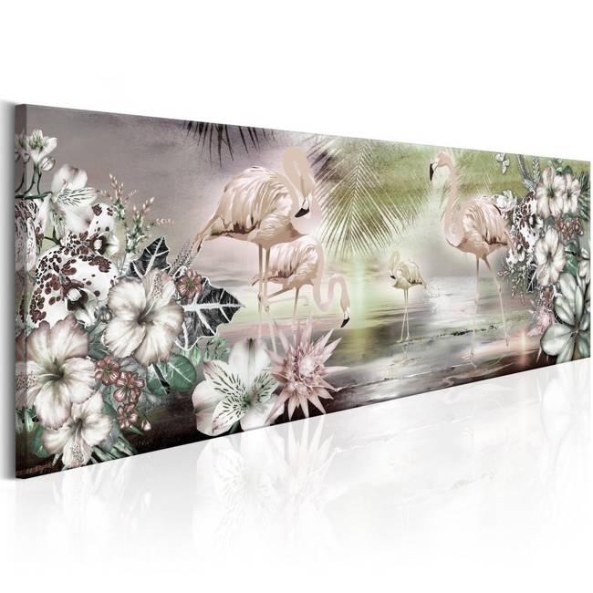 Obraz - Flamingi i kwiaty
