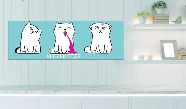 Obraz - Miezekotze: Kocie trio (niebieski)