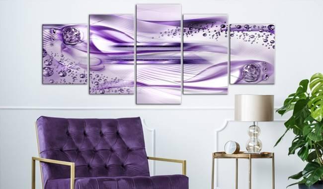 Obraz - Podwodna harfa (5-częściowy) szeroki fioletowy