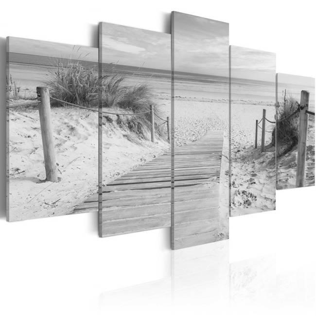 Obraz - Poranek na plaży  - czarno-biały