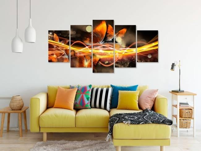 Obraz - Rój motyli (5-częściowy) szeroki pomarańczowy