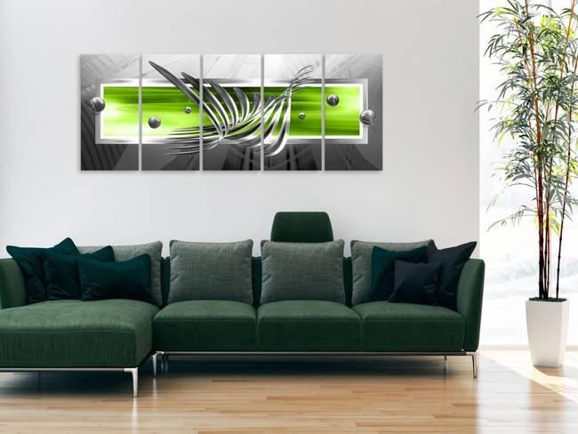 Obraz - Srebrne skrzydła (5-częściowy) wąski zielony