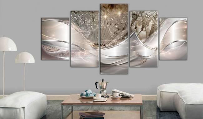 Obraz - Świecące dmuchawce (5-częściowy) beżowy szeroki