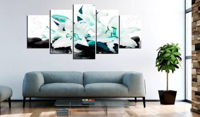 Obraz - Turkusowe lilie i kamienie