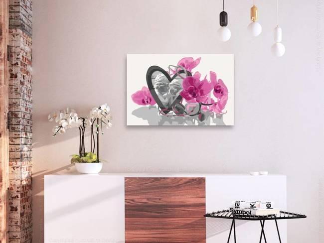 Obraz do samodzielnego malowania - Aniołki (serce i różowa orchidea)