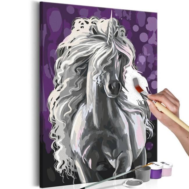 Obraz do samodzielnego malowania - Biały jednorożec