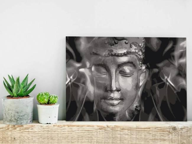 Obraz do samodzielnego malowania - Czarno-biały Budda