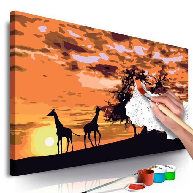 Obraz do samodzielnego malowania - Na sawannie (żyrafy i słonie)