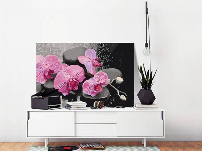 Obraz do samodzielnego malowania - Orchidea i kamienie zen (czarne tło)