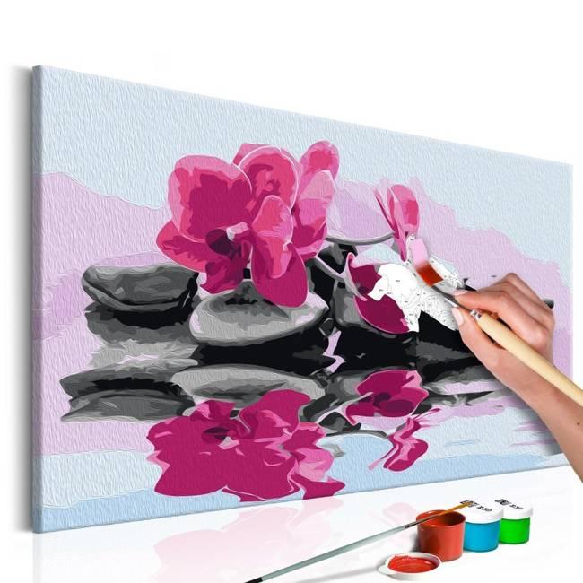 Obraz do samodzielnego malowania - Orchidea i kamienie zen w lustrze wody