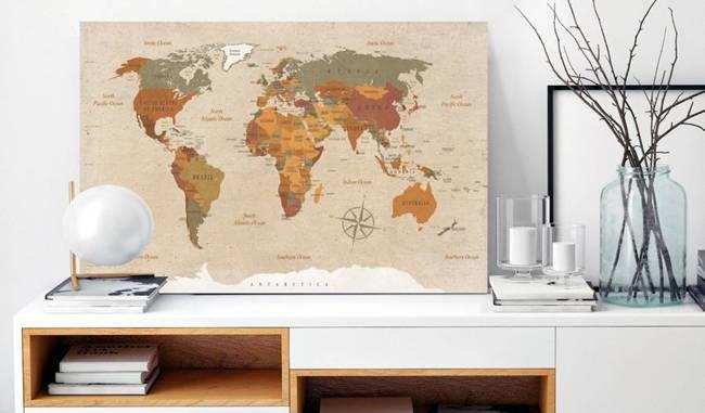 Obraz na korku - Beżowy szyk [Mapa korkowa]