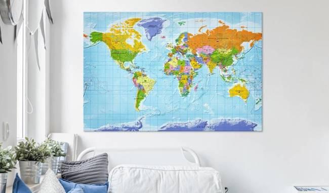 Obraz na korku - Mapa świata: Flagi państw [Mapa korkowa]