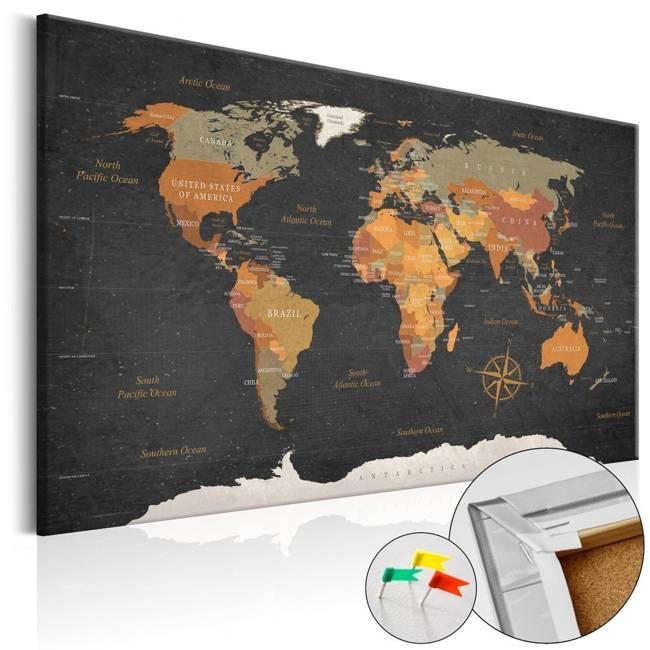 Obraz na korku - Tajemnice Ziemi [Mapa korkowa]