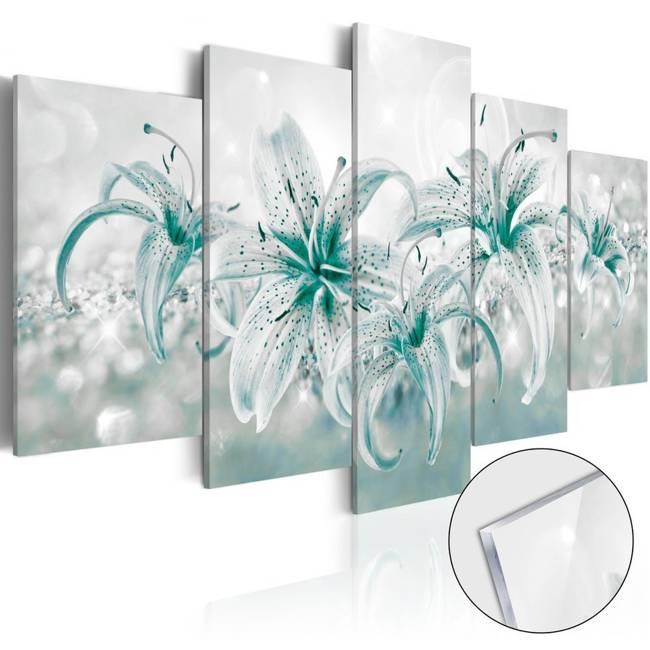 Obraz na szkle akrylowym - Szafirowe lilie [Glass]