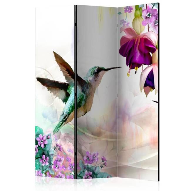 Parawan 3-częściowy - Kolibry i kwiaty [Room Dividers]