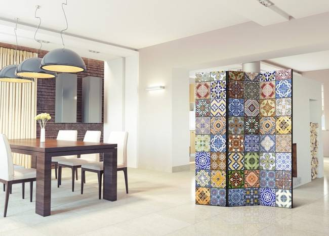 Parawan 3-częściowy - Kolorowa mozaika [Room Dividers]