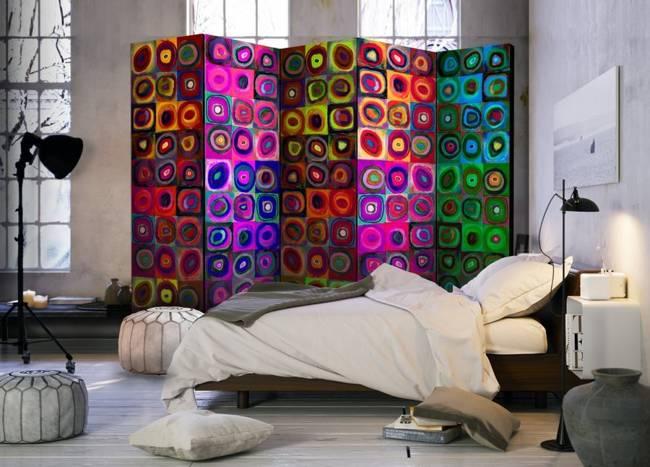 Parawan 5-częściowy - Kolorowy abstrakcjonizm II [Room Dividers]